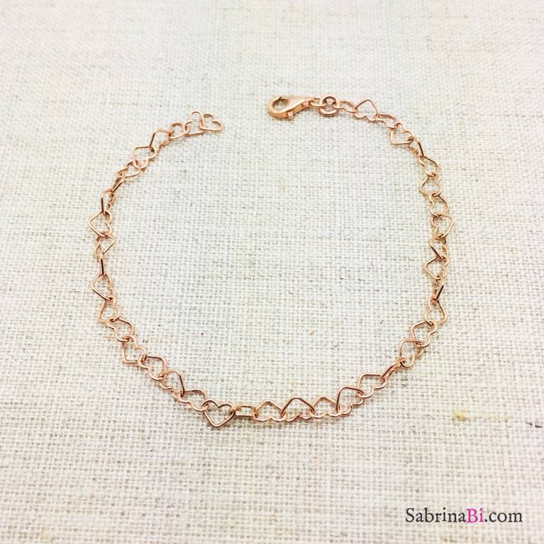 Bracciale catena cuori argento 925 oro rosa