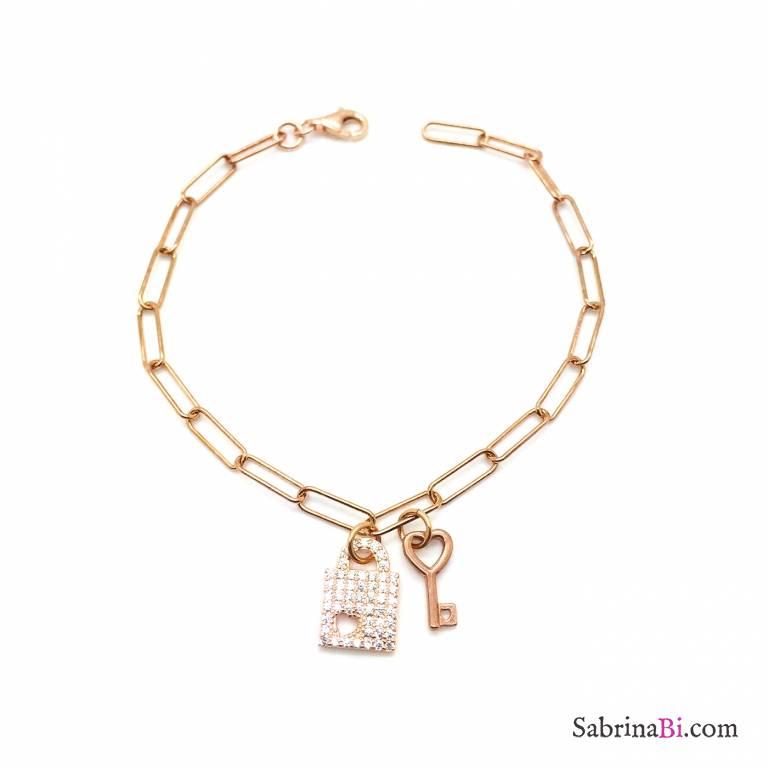 Bracciale catena graffetta argento 925 oro rosa Unchained