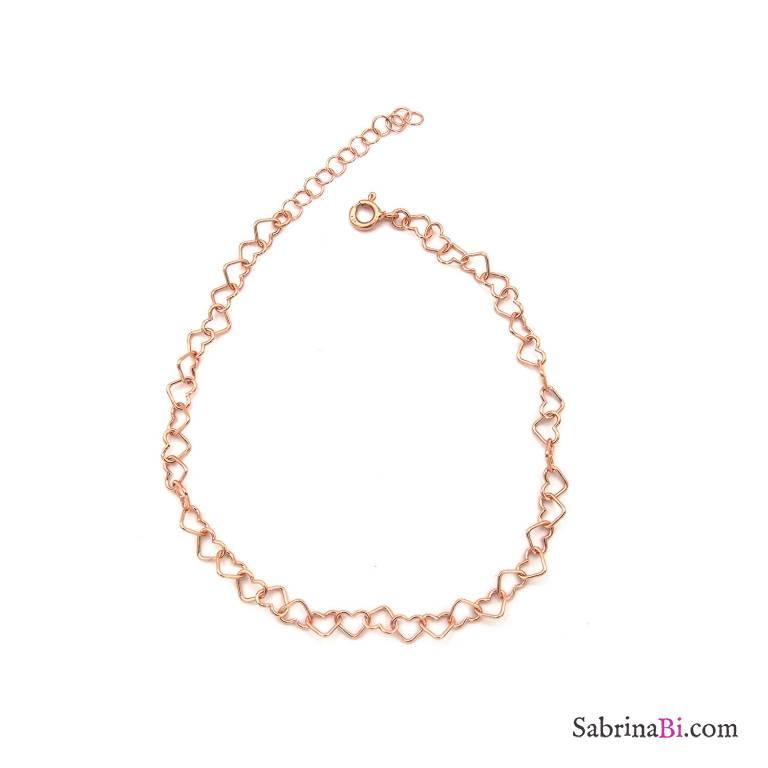 Bracciale con maglia a cuore argento 925 oro rosa
