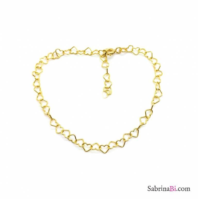 Bracciale con maglia a micro cuore argento 925 oro giallo