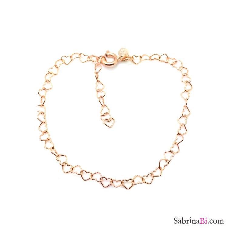 Bracciale con maglia a micro cuore argento 925 oro rosa