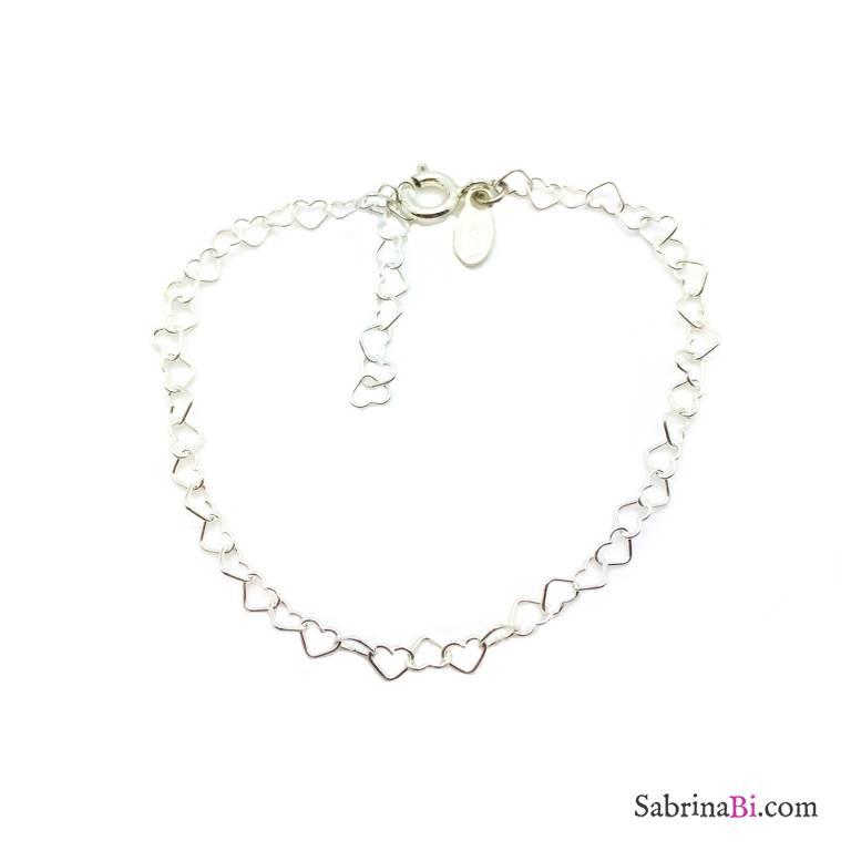 Bracciale con maglia a micro cuore argento 925