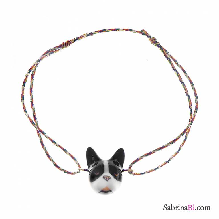 Bracciale cordino regolabile cane French Bulldog porcellana
