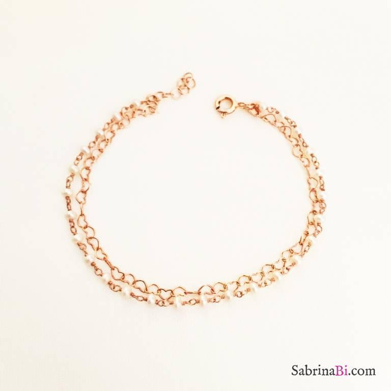 Bracciale doppio argento 925 oro rosa Hearts and Pearls