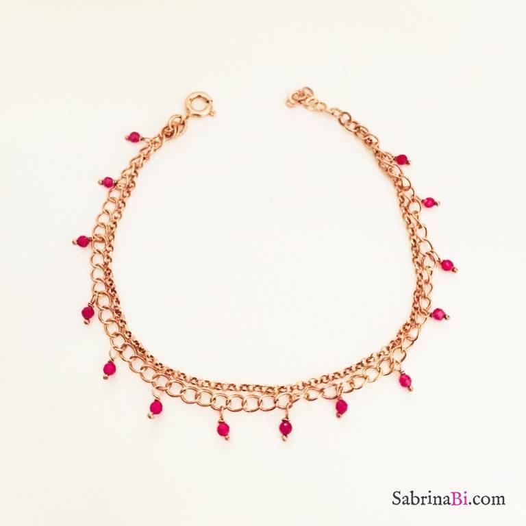 Bracciale doppio argento 925 oro rosa Ruby