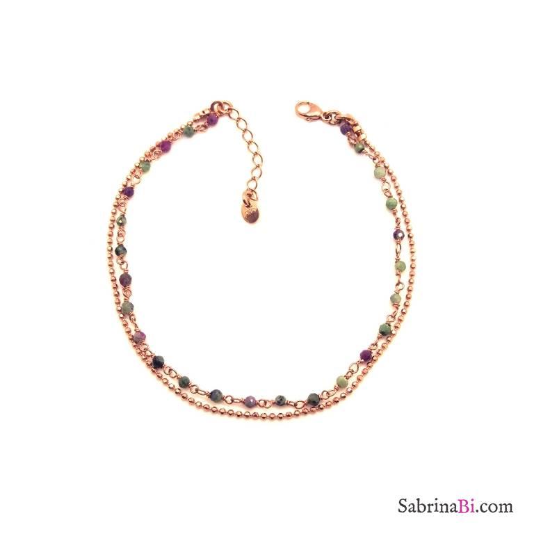 Bracciale doppio filo argento 925 oro rosa micro rosario multicolor