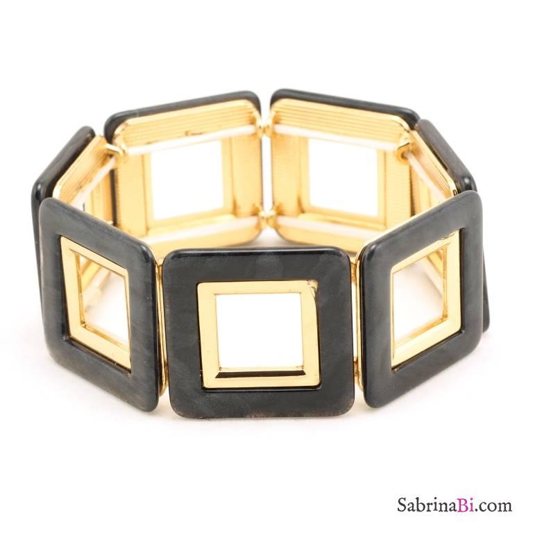 Bracciale elasticizzato dorato con elementi quadrati grigi