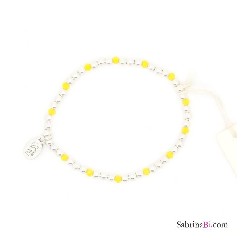 Bracciale elasticizzato palline argento e perline gialle