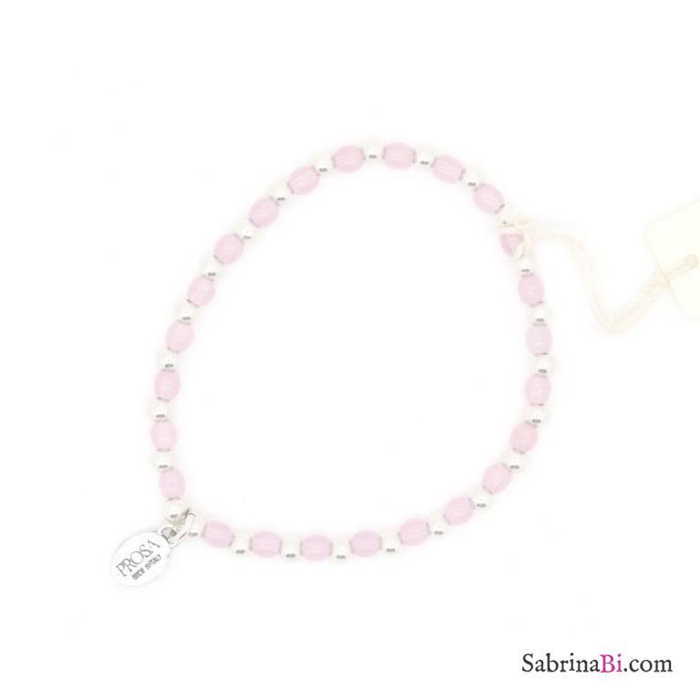 Bracciale elasticizzato perline argento e rosa