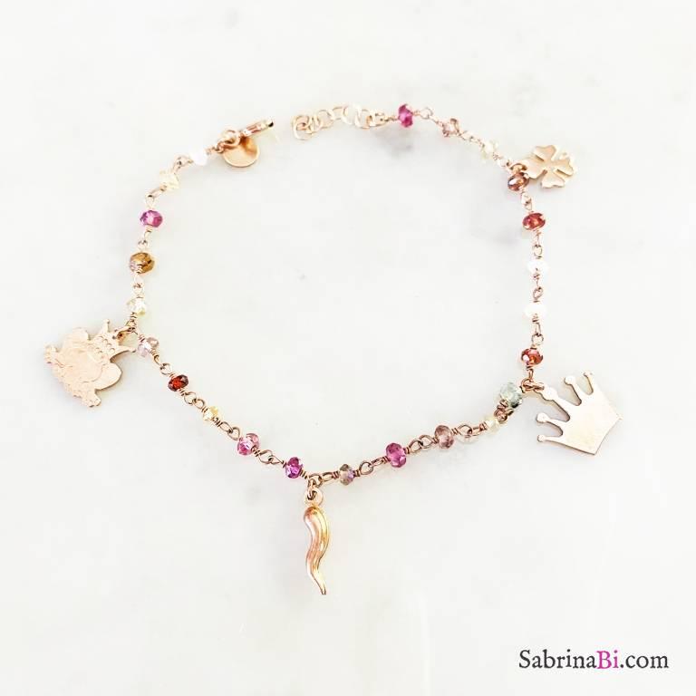 Bracciale Lucky Frog rosario argento 925 oro rosa pietre dure multicolor