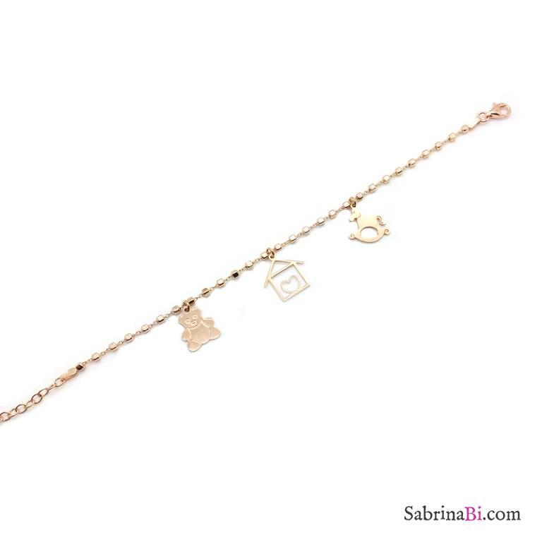 Bracciale pallinato argento 925 oro rosa ciondoli Orsetto