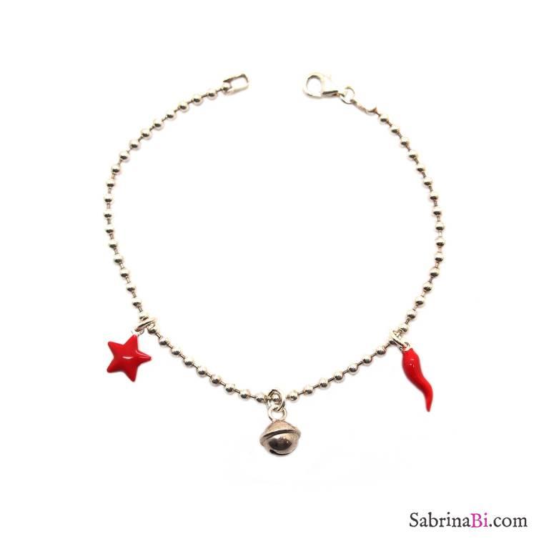 Bracciale palline argento 925 Stella e Cornetto rossi