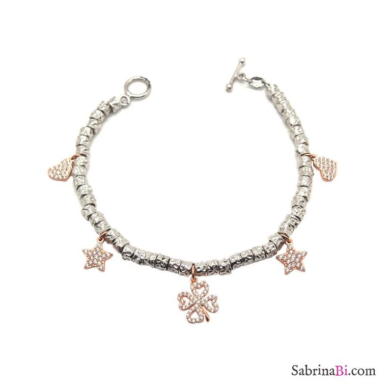 Bracciale pepite argento 925 charms Zirconi