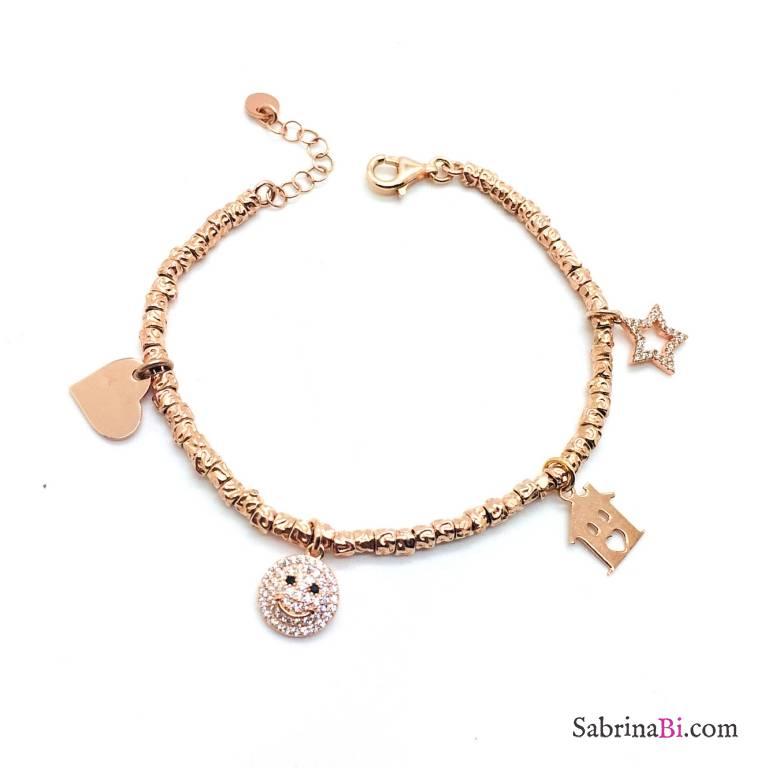 Bracciale pepite argento 925 oro rosa Happy charms