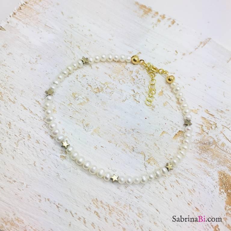Bracciale perle di fiume e micro stelle Pirite