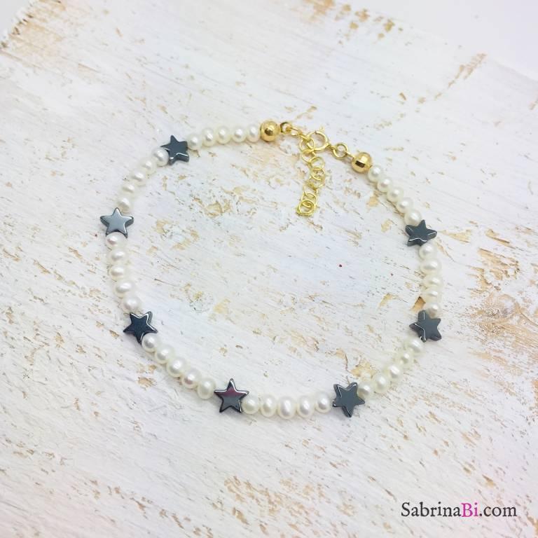 Bracciale perle di fiume e stelle Ematite
