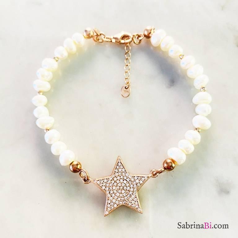 Bracciale perle maxi stella Zirconi