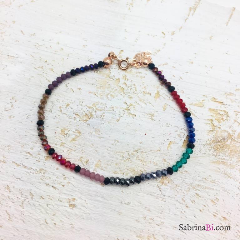 Bracciale pietre dure multicolori e Spinelli neri