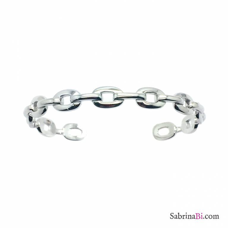 Bracciale rigido bangle argento 925 catena