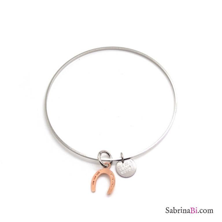 Bracciale rigido bangle argento con ferro di cavallo oro rosa