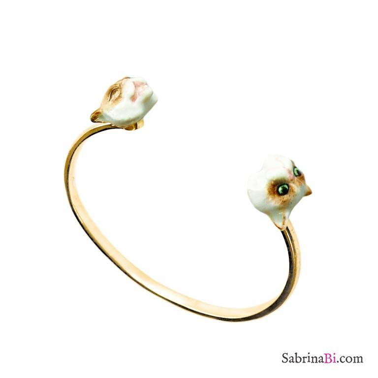 Bracciale rigido bangle oro Gatto Siamese in porcellana