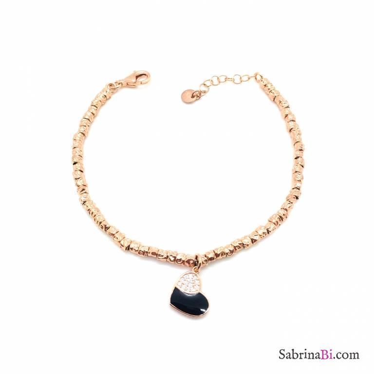 Bracciale rondelle argento 925 oro rosa Black Heart