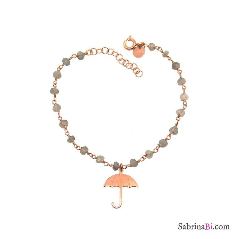 Bracciale rosario argento 925 oro rosa Agata grigia e ombrello