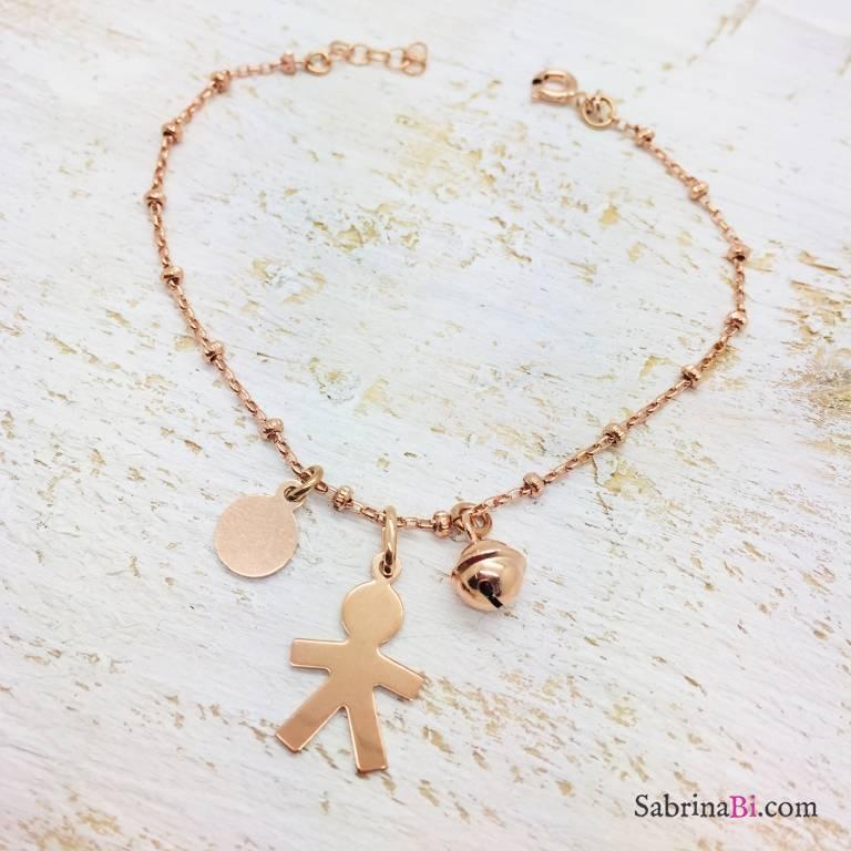 Bracciale rosario argento 925 oro rosa Bambino e campanellino
