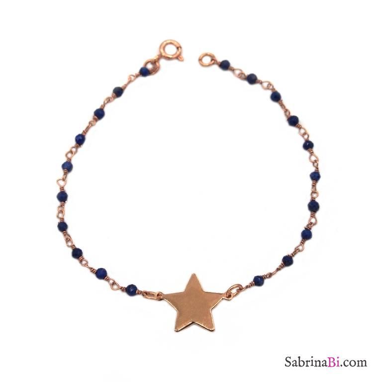 Bracciale rosario argento 925 oro rosa lapislazzuli e stella