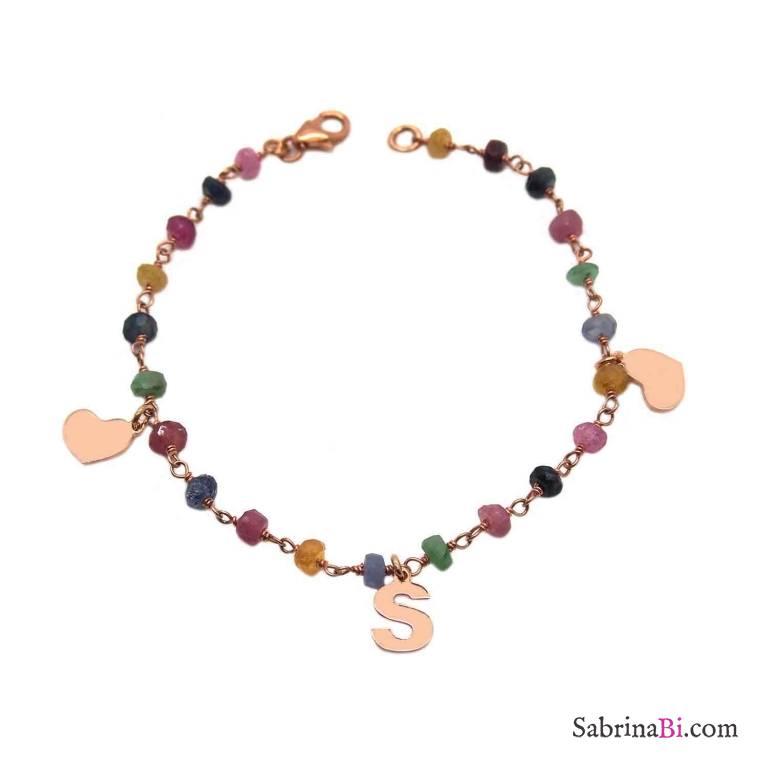 Bracciale rosario argento 925 oro rosa pietre dure multicolor Due Cuori + Lettera