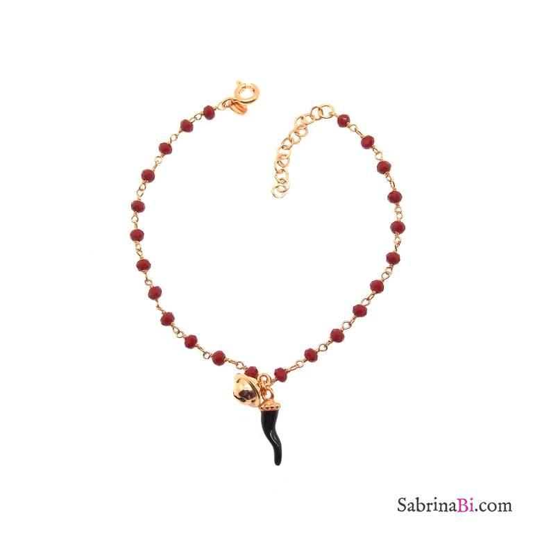 Bracciale rosario argento 925 oro rosa pietre dure rosse Cornetto nero