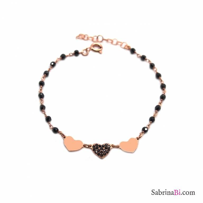 Bracciale rosario argento 925 oro rosa Spinelli neri Cuori rosa e Zirconi neri