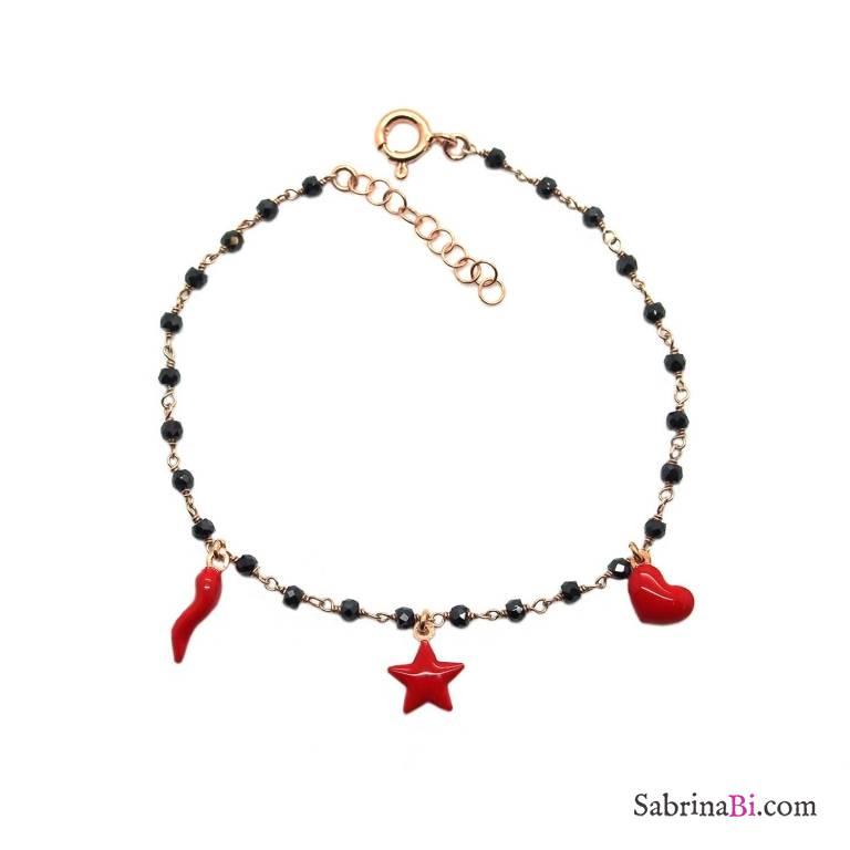 Bracciale rosario argento 925 oro rosa Spinelli neri e 3 charms rossi