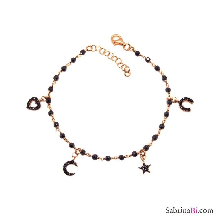 Bracciale rosario argento 925 oro rosa Spinelli neri e charms Zirconi neri