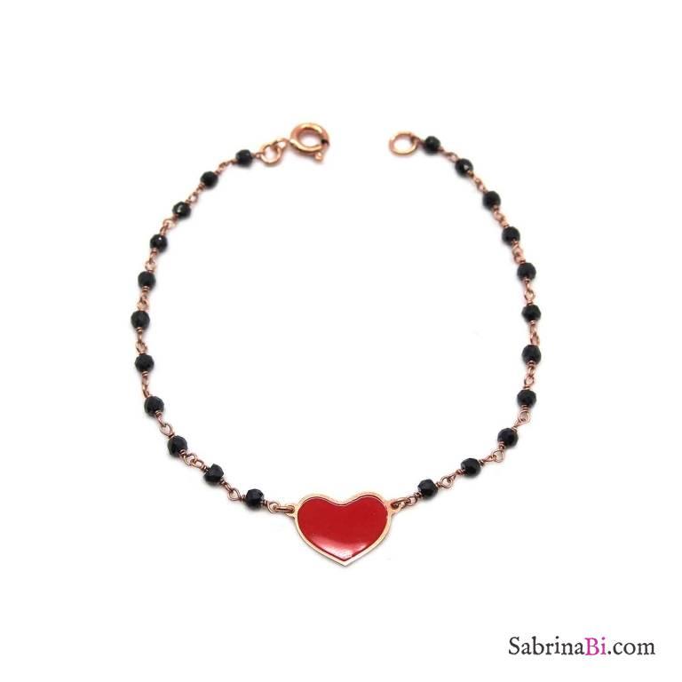 Bracciale rosario argento 925 oro rosa Spinelli neri e cuore smalto rosso