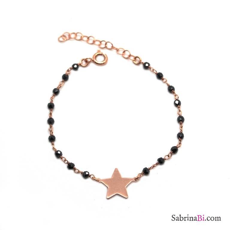 Bracciale rosario argento 925 oro rosa Spinelli neri e stella
