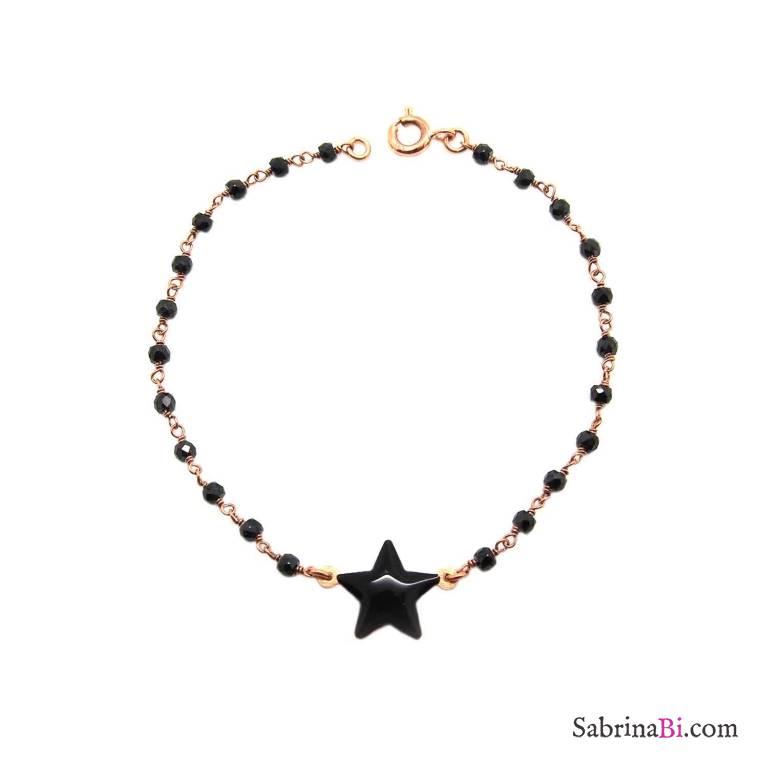 Bracciale rosario argento 925 oro rosa Spinelli neri e stella smalto nero