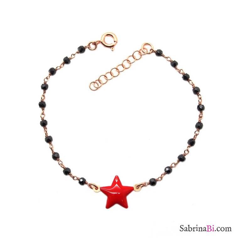 Bracciale rosario argento 925 oro rosa Spinelli neri e stella smalto rosso