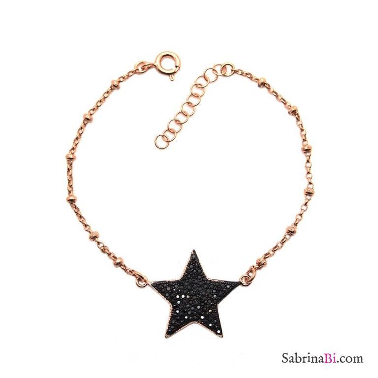 Bracciale rosario argento 925 oro rosa stella grande Zirconi neri