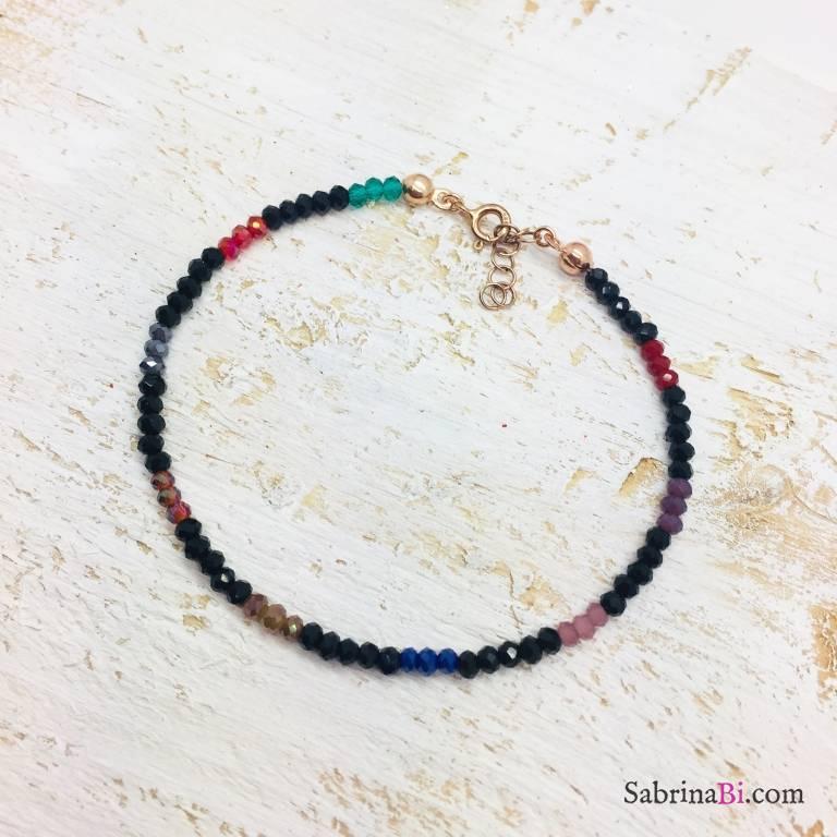 Bracciale Spinelli neri e pietre dure multicolori