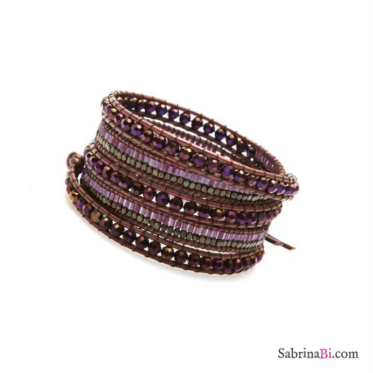 Burgundy Leather And Crystals Uni Wrap Bracelet Nakamol