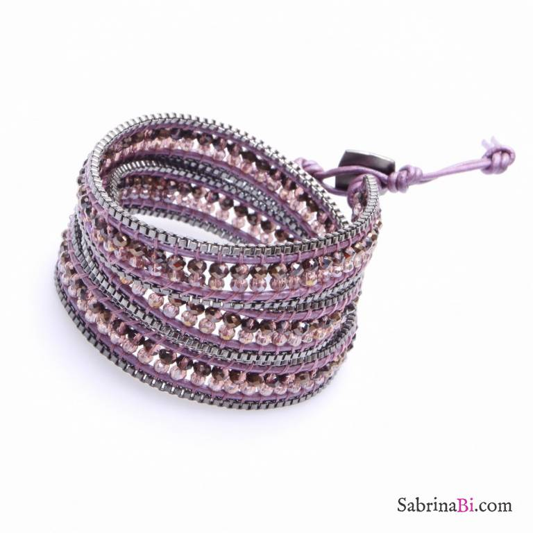 Bracciale unisex multigiro wrap cuoio e cristalli rosa e bordeaux