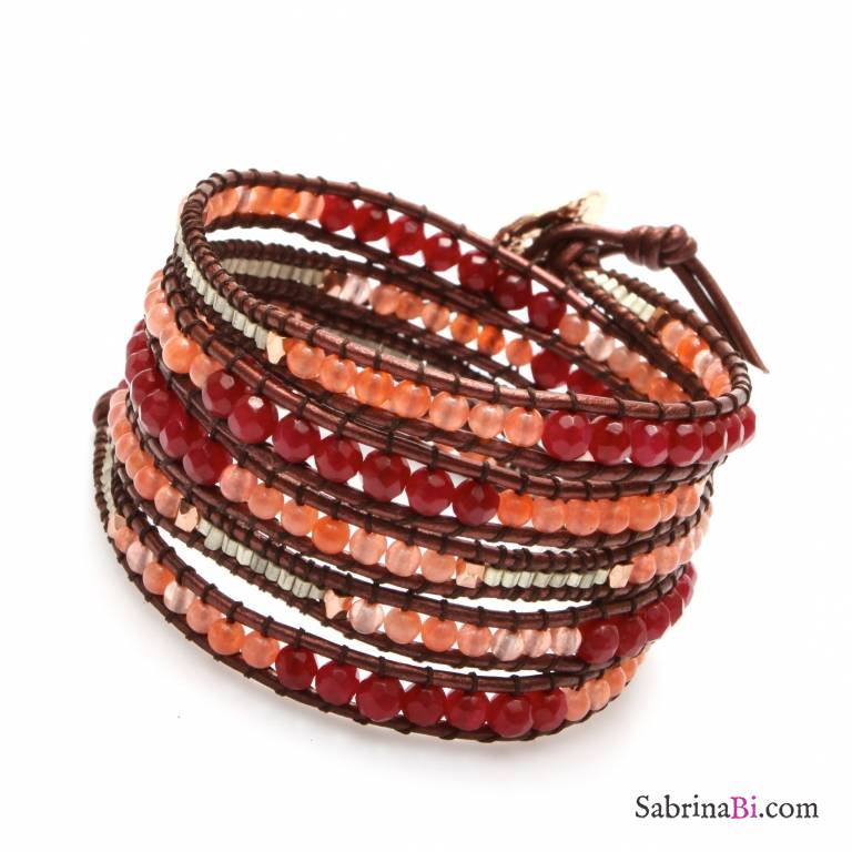 Bracciale unisex multigiro wrap pelle e pietre rosse/arancioni