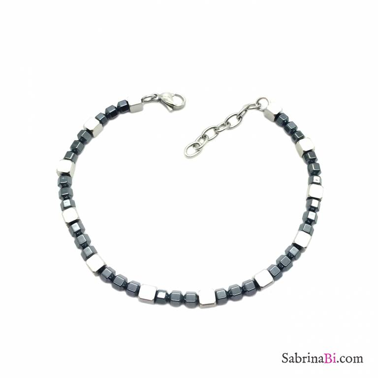 Black rhodium stainless steel cubes man bracelet