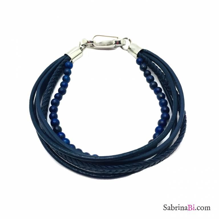 Fake blue leather and stones man wrap bracelet