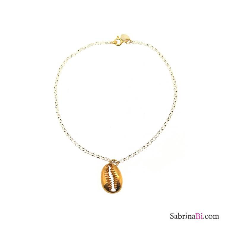 Cavigliera argento 925 conchiglia oro