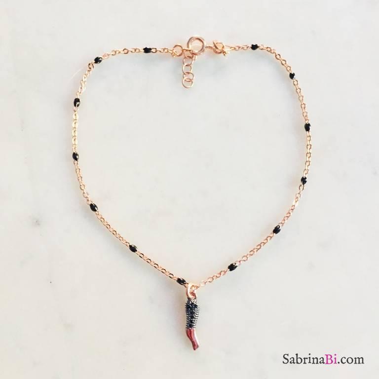 Cavigliera argento 925 oro rosa cornetto Zirconi neri