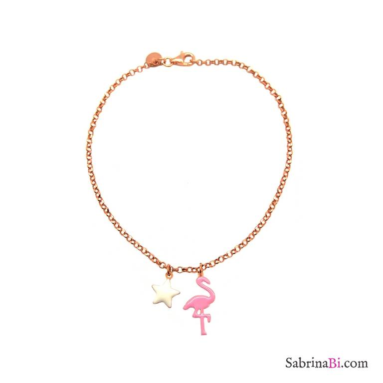 Cavigliera argento 925 oro rosa fenicottero e stella