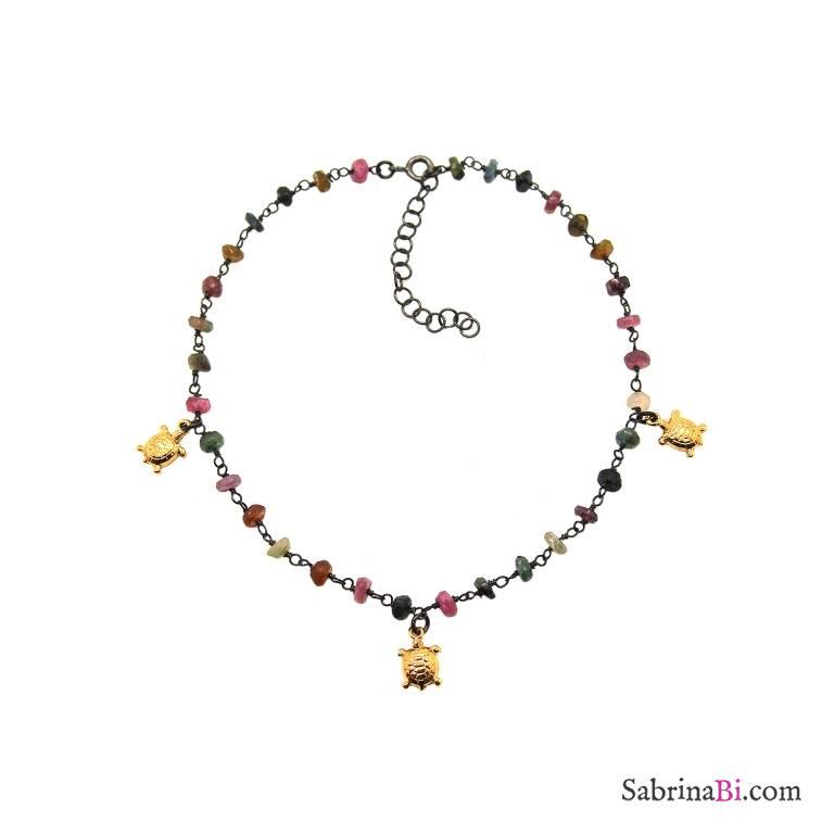 Cavigliera argento 925 rodiato nero rosario pietre multicolor e tartarughe