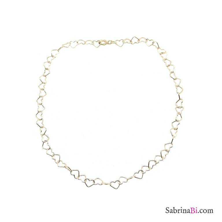 Cavigliera con maglia a cuore piccolo argento 925